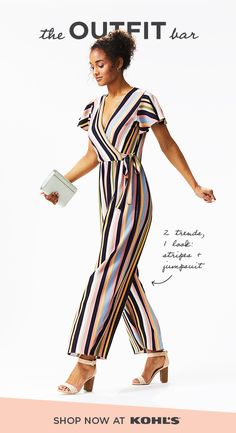7db4d0b66fec Party pretty in jumpsuits from The Outfit Bar at Kohl's. This striped  jumpsuit is ready