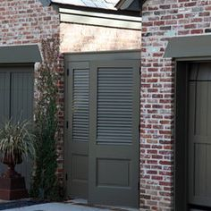 Brick with dark gray-green wood color