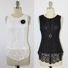 Black Peplum Crochet Lace Top Blouse The top is also available in white in sizes S through 3XL. Size up is recommended. CestCaNY Tops Blouses