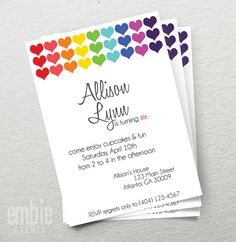 Rainbow Heart Birthday Party Invite Invitation 5x7 Printable DIY Print at Home Girl First Fun Cute Teen Tween Gilry