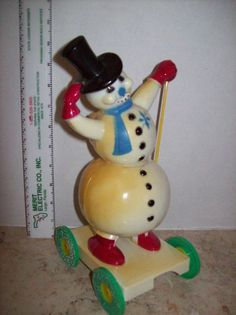 "Vintage Rosbro 10"" candy container hard plastic snowman on wheels"