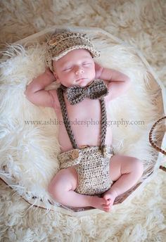 Little Man Suit in Oatmeal and Taupe with Matching Diaper Cover, Suspenders and Bow Tie- MADE TO ORDER. $40.00, via Etsy.