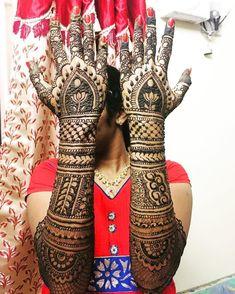 9 Beautiful Gujarati Mehndi Design Ideas For Brides To Try Out This Wedding Season Indian Mehndi Designs, Full Hand Mehndi Designs, Mehndi Design Images, Henna Designs, Mehanthi Design, Design Ideas, Simple Arabic Designs, Fair Complexion, Black Henna