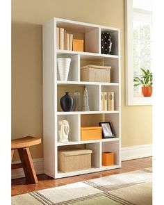 Five-Shelf Bookcase: Four fixed shelves with vertical dividers Espresso finish Assembles quickly and easy to clean Material conforms to CARB regulation Inside Dimension (Large in W x 12 in D x in H Inside Dimension (Small in W x in D x in H Kitchen Room Design, Interior Design Living Room, Living Room Decor, Home Furniture, Furniture Design, Kirkland Home Decor, Multifunctional Furniture, Shelves In Bedroom, Farmhouse Bedroom Decor