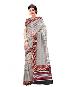 Captivating Grey Silk Printed Saree Description: Redefine your style with the Captivating Grey Silk Printed Saree which brings sophisticated elegance at its best. An eye-catching printed red silk blouse makes a perfect pair with the subtle grey saree.  Details: Printed Work  Sizes Available: Saree Length- 5.5 meter Blouse Piece  Size upto 42 inches Blouse Piece Length- 0.80 meter  Colour and Fabric: Saree- Grey, Blouse- Red  and  Saree- Silk, Blouse- Silk