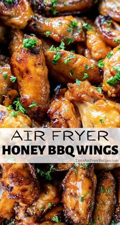 These Air Fryer Honey Bbq Wings are lick your fingers messy and delicious! Perfectly cooked chicken wings air fried then slathered with honey bbq sauce make a great appetizer, snack, dinner or party food. #airfryer #airfryerrecipes #airfryerwings #airfryerchicken #bbqchickenwings Air Fryer Dinner Recipes, Air Fryer Recipes, Easy Dinner Recipes, Delicious Recipes, Appetizer Recipes, Dinner Ideas, Snack Recipes, Healthy Recipes, Chicken Breast Recipes Healthy