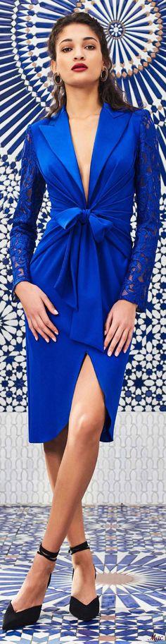 Pre-Fall 2020 Tadashi Shoji Blue Fashion, Fashion 2020, Runway Fashion, Womens Fashion, Tadashi Shoji, Peplum Dress, Wrap Dress, Bleu Cobalt, Belle Silhouette
