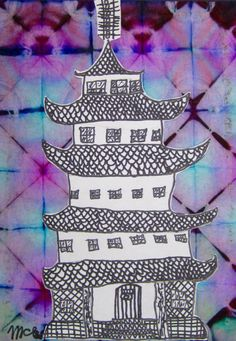Asian Pagoda Mixed Media Collage | Chinese New Year Art Projects | Wonderful mixed media project that ties in architecture. Great for 4th grade.