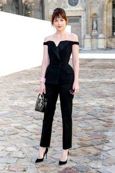 Heyyy Dakota Johnson, can we borrow that leather jacket? (And dog?)