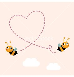 Flying bees making big love heart in the air vector - by lordalea on VectorStock®