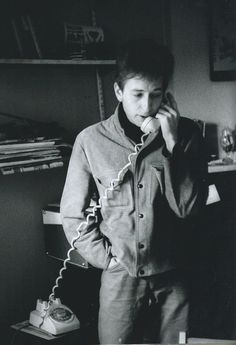 """Bob Dylan talking on the phone, 1962 """