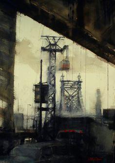 Antonio Masi watercolor of the Queensboro Bridge Watercolor City, Watercolor Paintings, City Scapes, My Canvas, Urban Landscape, Urban Art, Watercolors, New York City, Buildings