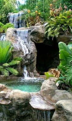 24 backyard and garden waterfall landscaping ideas - Amenagement Jardin Recup Backyard Water Feature, Ponds Backyard, Backyard Landscaping, Landscaping Ideas, Backyard Waterfalls, Waterfall Landscaping, Garden Waterfall, Beautiful Nature Wallpaper, Beautiful Landscapes