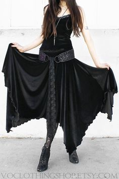 WITCHY BLACK VELVET maxi skirt  stretch velvet cotton spandex