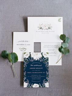 Wedding invitation suite, navy, greenery, gold, eucalyptus, olive branch