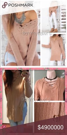 """🆕 Ready to Ship • Laced Up Side Slit Sweater Hot hot hot!! Add this sexy laced up  top to your closet! Features a laced up front and slit sides. Material: acrylic. Color is like a dusty rose color. Bust 35""""-40"""", length 31.5 inches. This sweater is unbranded. - NWOT •• Tops"""