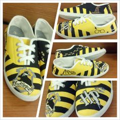 Hufflepuff Shoes!  #hufflepuff #harrypotter  https://www.etsy.com/listing/158428094/hand-made-harry-potter-lace-up-tennis