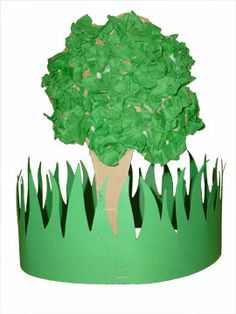 "Nature hat. Could even do it with a grass border & then flowers instead of the tree for my ""garden"" themed storytime in the spring."