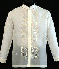Jusi Barong Tagalog The essential warm-weather piece offers the simplest solution for traditional style. Its conventional embroidery style defines this Jusi fabric which show off your confident style choice when paired with any dress pants. Suit Up, Suit And Tie, Barong Wedding, Wedding Attire, Philippines Culture, Philippines Dress, Barong Tagalog, Filipiniana Dress, Tropical Fashion