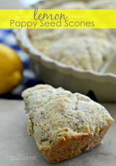 Brighten up your morning with these lively home made lemon poppy seed scones that are both easy to make and come together quickly using a food processor.  They come out perfectly crumbly and tender with a great lemony flavor. Whether you've having these scones for breakfast or a cup of tea, it's a great treat.  Brought to you by Hip2Save.com | Lemon poppyseed scone recipe |