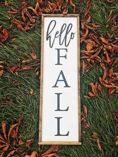 Hello Fall Wood Sign Autumn Decor Fall Farmhouse Signs