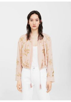 Mango. Summer jacket - Pastel Pink. Fit:regular. Outer fabric material:100% viscose. Care instructions:do not tumble dry,Hand wash only. Pattern:Print. Length:normal. Sleeve length:long. Lining:100% polyester