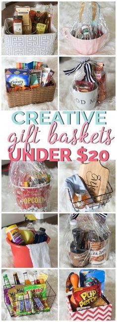 Creative Gift Basket Ideas under $20 #giftbaskets #giftideas Creative Gift Baskets, Diy Gift Baskets, Christmas Gift Baskets, Diy Christmas Gifts, Creative Gifts, Holiday Gifts, Homemade Gift Baskets, Creative Ideas, Unique Gift Basket Ideas
