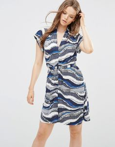 Image 1 ofFrench Connection Tea Dress in Wavy Stripe