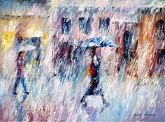 Downpour — PALETTE KNIFE Oil Painting On Canvas By Leonid Afremov #art #painting #fineart #modernart #canvas