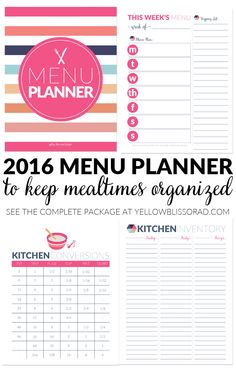 2016 Pink & Navy Menu Planner