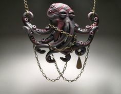 Purple Chained Octopus Necklace  Polymer Clay by DeliciousHobo, $55.00- This is one of the coolest polymer things I've seen!