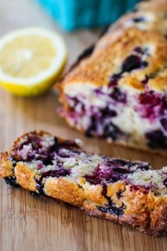 lemon blueberry muffin bread at pbs.org: 1) Preheat oven to 350 degrees and spray a loaf pan with nonstick cooking spray. 2) Mix 2 cups flour, 1 ½ tsp baking powder, ½ tsp salt. Add 2 cups or 12 oz blueberries and 2 tsp lemon zest;  toss to combine. 3) In another bowl, cream together 1 stick unsalted butter (room temp) and 1 cup sugar. 4) Add 2 eggs and ½ cup plain yogurt (regular or lowfat). 5) Add dry mix. 6) Bake for 1 hour 10 minutes. Let cool 10 min before inverting on a plate.