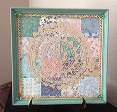 Framed Vintage Quilt Square With Vintage Tatted Doily and Glass Buttons
