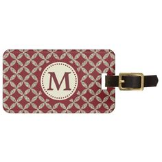 Red Silver Glitter Pattern Monogram Luggage Tag by Avenue Central