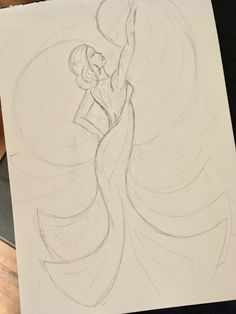 Pencil drawing of art deco inspired flamenco dancer