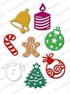 Impression Obsession - Dies - Christmas Icons-This is a set of 8 dies. They measure approximately 1 each on their longest side. Christmas Labels, Christmas Icons, Christmas Scrapbook, Cake Stencil, Stencil Diy, Stencils, Diy Scrapbook, Scrapbook Supplies, Scrapbooking