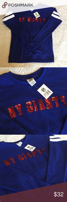 Pink VS NFL collection NY Giants New with tags NY giants sweatshirt PINK Victoria's Secret Sweaters Crew & Scoop Necks