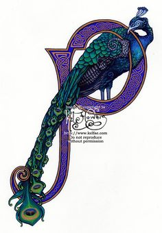 I've been working on this one for a while, phew. This is under in size, painted solely in Gouache on watercolour paper. It's my first painting in gou. Peacock P Exemplar scan Peacock Decor, Peacock Bird, Peacock Colors, Peacock Design, Peacock Feathers, Illuminated Letters, Illuminated Manuscript, Peafowl, Celtic Art