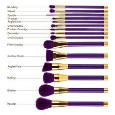 15 Pcs. Makeup Brush Set-Purple+ Purple