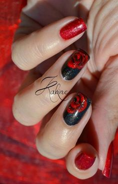 Stylish Red and Black Nail Designs Black and Red Rose Nail Art Design.Black and Red Rose Nail Art Design. Nail Art Designs, Nail Designs 2017, Black Nail Designs, Acrylic Nail Designs, Nails Design, Rose Nail Design, Design Design, Design Ideas, Rose Nail Art