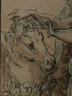 "PARMIGIANINO,1533-35 - Philyra et Saturne sous la forme d'un Cheval, Etude (Louvre INV6408) - Detail -c  -  TAGS : drawing dessin personnage figure figures people art painter peintre details détail détails croquis étude study sketch sketches painting paintings wash lavis France Italy Italy ""Le Parmesan"" Parmesan ""Francesco Mazzola"" Francesco Mazzola Parme Parma myth mythe mythologie mythology femme woman beauty beauté homme man robe dress animal animals animaux horse horses cheval chevaux"