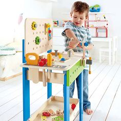 Hape Wooden Child Master Tool and Workbench Toy Pretend Builder Set for Kids Wood Top Workbench, Kids Workbench, Kids Tool Bench, Simple Comme Bonjour, Imagination Toys, Cool Woodworking Projects, Baltic Birch Plywood, Top Toys, Pretend Play
