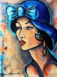 Belle demoiselle... - Peinture, 30x40 cm ©2014 par Dam Domido - Art déco, Toile, Femmes, portrait art déco, peinture art nouveau, dam domido