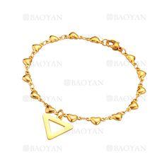 pulsera con triangulo de dorado en acero para mujer-SSBTG1094314