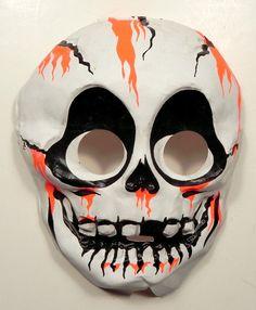 1960s vintage halloween mask skull nos