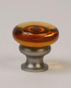 34-101 Transparent Amber / Brushed Nickel Mushroom Glass Knob