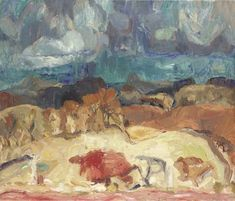 Artwork by Sir William George Gillies, Storm over East Lothian, Made of oil on canvas View Image, Impressionism, Oil On Canvas, Sculpting, Museum, Antiques, Gallery, Artist, Artwork