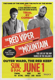 The Red Viper vs. The Mountain: A 'Game of Thrones' Pre-Fight Breakdown Poster designed by Jayme Perry