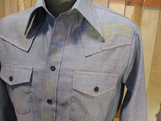 70s vintage Chambray shirt blue Embroidered by funkomavintage, $29.00