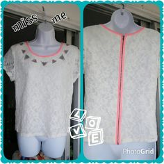 "Miss Me Top Off white/cream lacey top,(lined, but,still sheer) pink/salmon trim, full zipper on back with hook n eye . cool ""jewels"" along yoke line with turquoise netting. A beautiful contrast......77%cotton 23%spandex 17"" pit to pit...20"" shoulder to hem... Miss Me Tops"